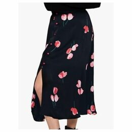Ghost Louisa Tulip Print Midi Skirt, Black