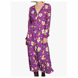 Ghost Laura Crepé Midi Dress, Purple