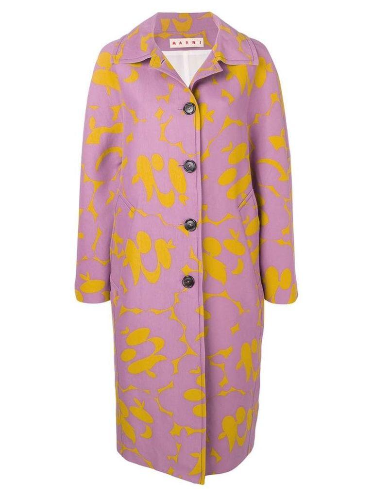 Marni geometric print single-breasted coat - Pink
