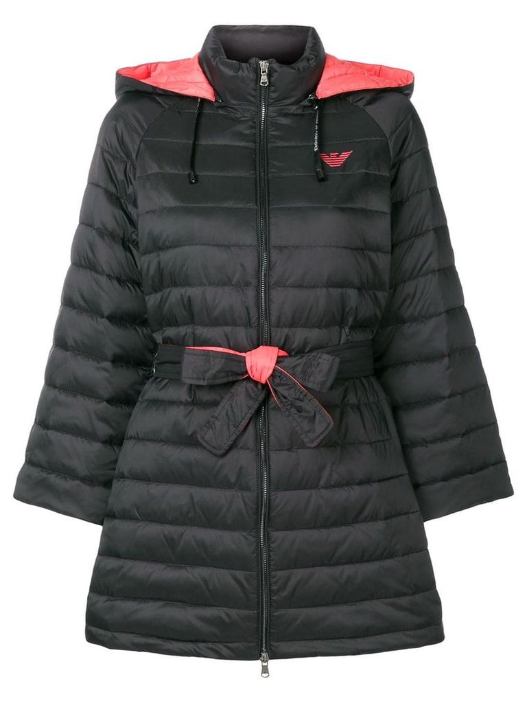 Emporio Armani padded single breasted coat - Black