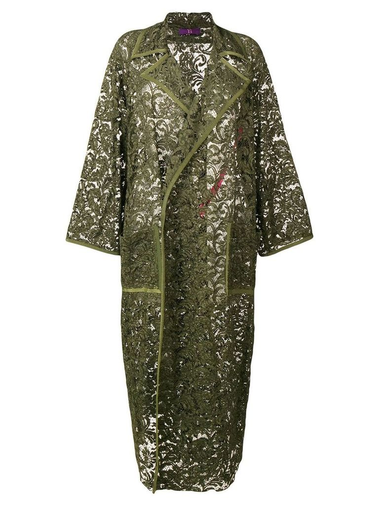 Y's delicate evening lace coat - Green