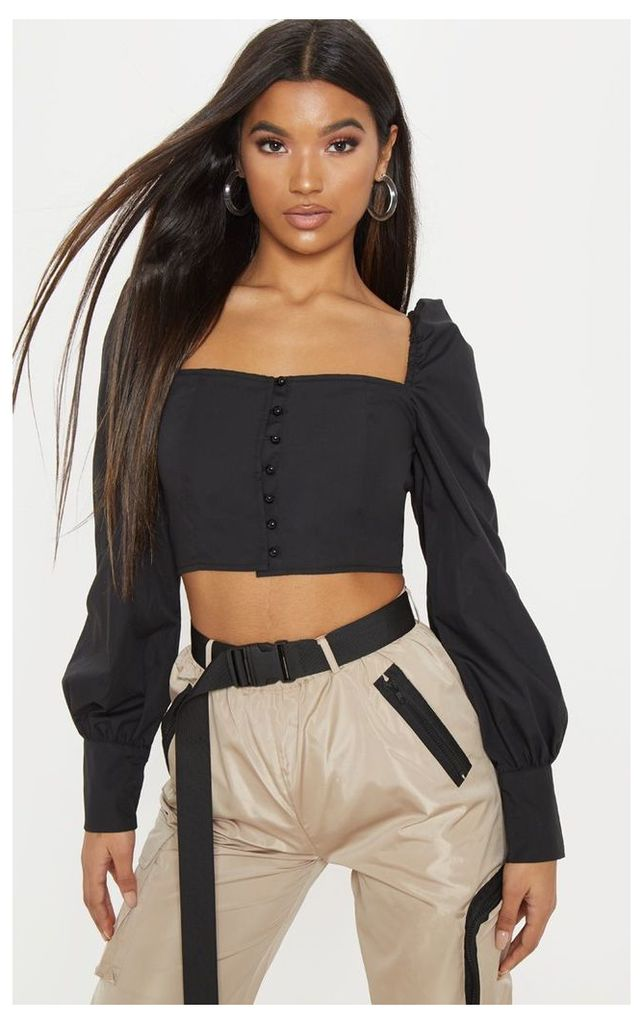 Black Button Front Puff Sleeve Top, Black