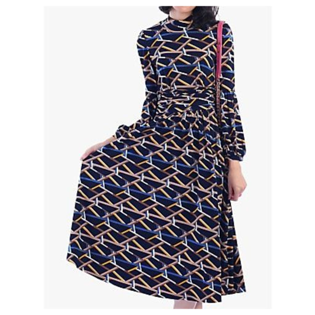 Jolie Moi Funnel Neck Geometric Print Midi Dress, Navy