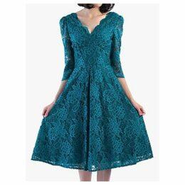 Jolie Moi Puff Shoulder V-Neck Lace Dress, Teal