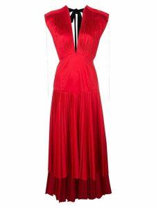 Khaite V neck pleated dress - Red