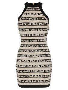 Balmain high-necked logo halter dress - Neutrals
