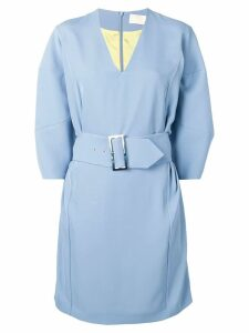 Sara Battaglia belted waist dress - Blue