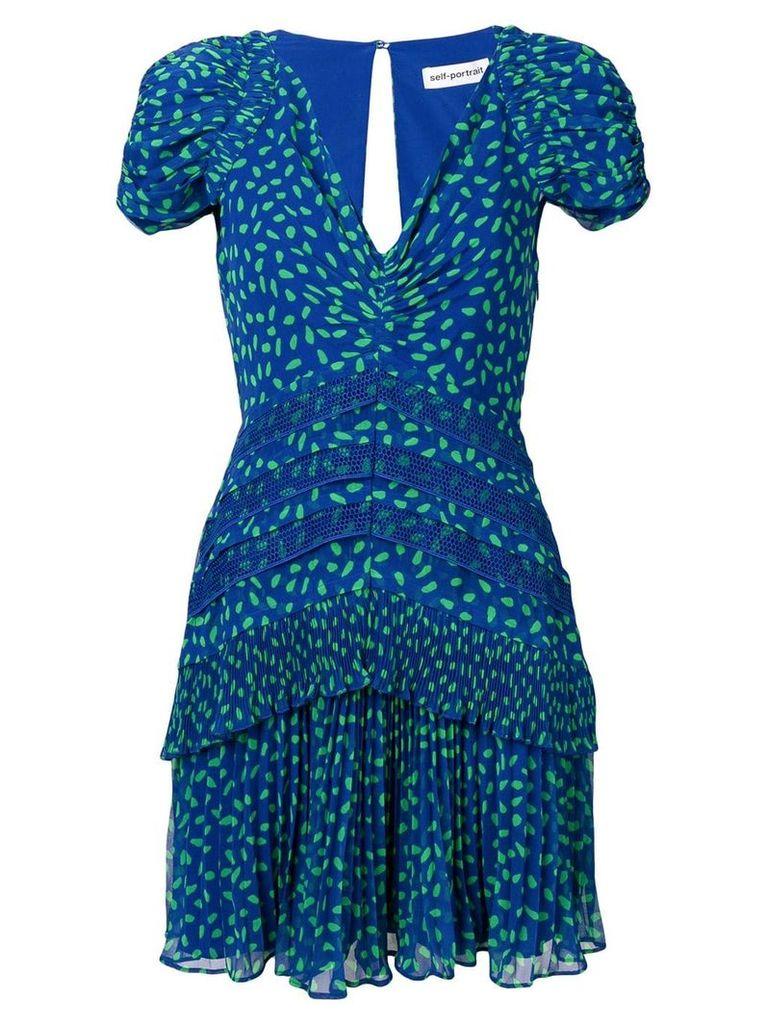 Self-Portrait dot chiffon printed dress - Blue