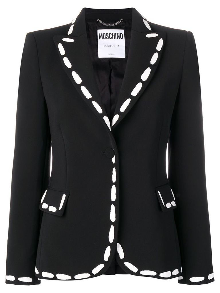 Moschino print detailed fitted blazer - Black