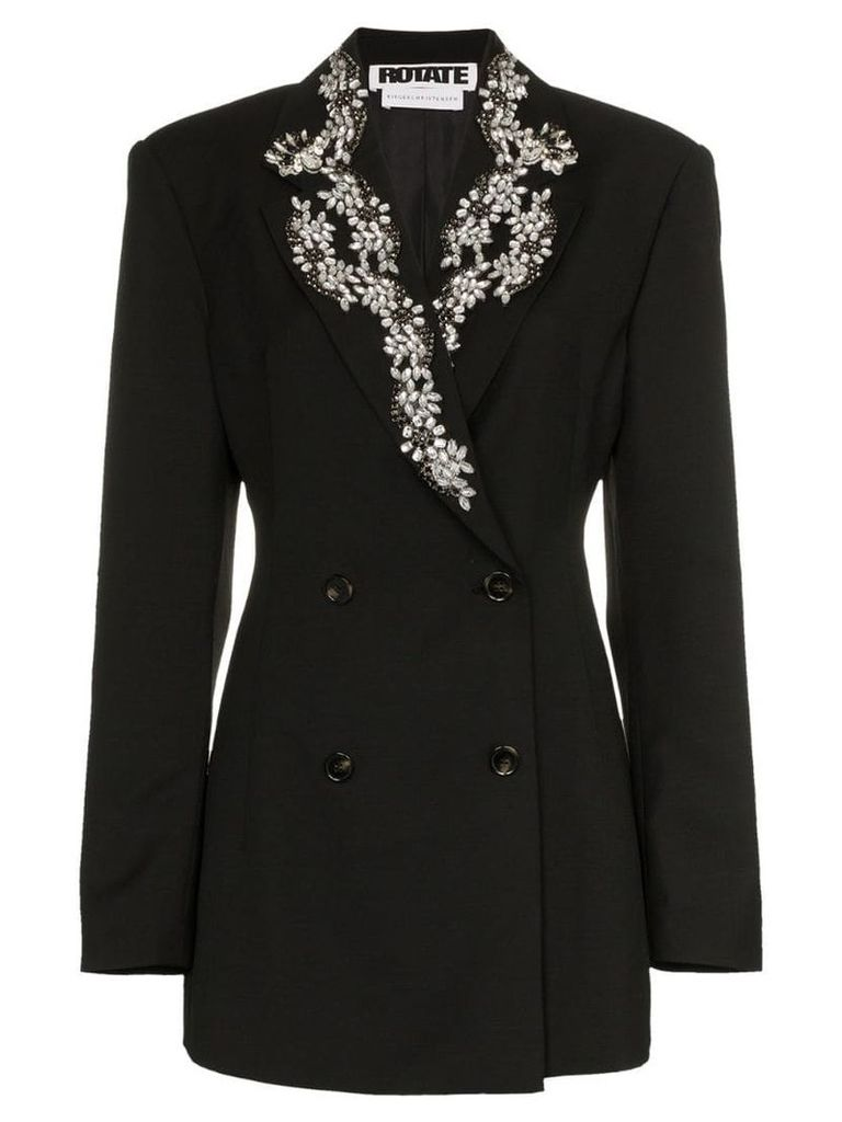 Rotate diamanté embroidered lapel blazer - Black