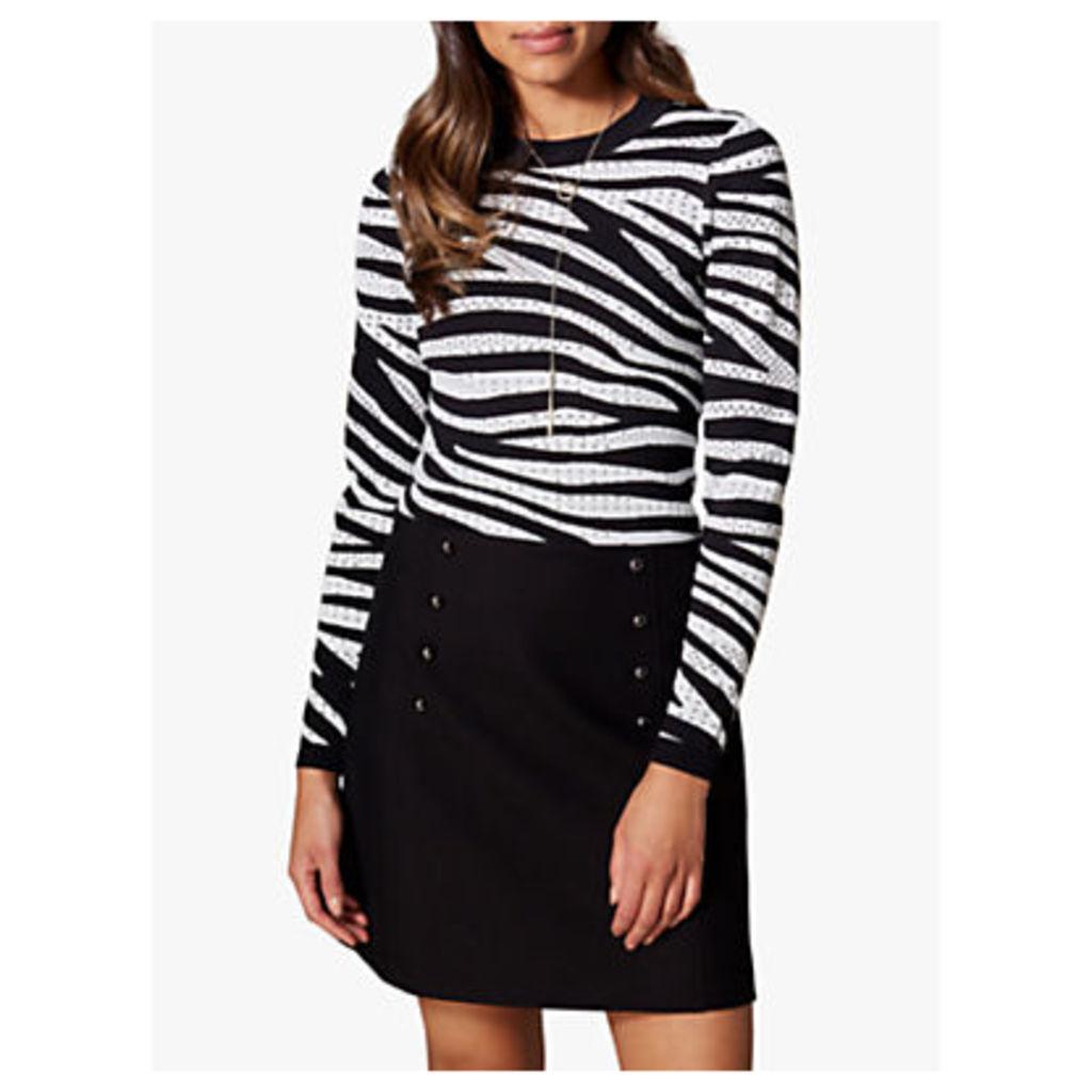 Karen Millen Zebra Print Jumper, Black/White
