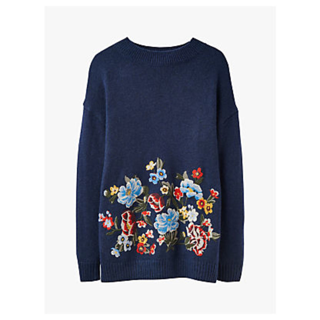 Joules Penny Statement Floral Embroidered Jumper, French Navy