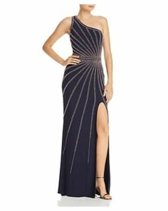 Avery G One-Shoulder Beaded Gown