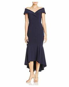 Aqua Off-the-Shoulder Flounced Midi Dress - 100% Exclusive