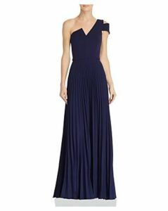 Aqua One-Shoulder Pleated Gown - 100% Exclusive