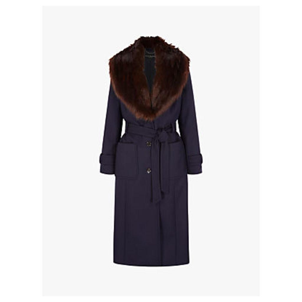 Four Seasons Faux Fur Collar Coat, Navy