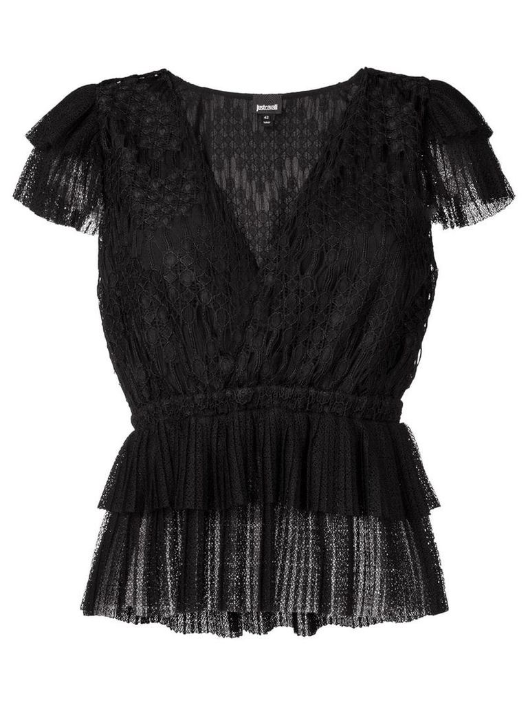 Just Cavalli embroidered top - Black
