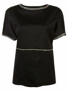 Derek Lam Studded Cotton Sateen Boxy Top - Black