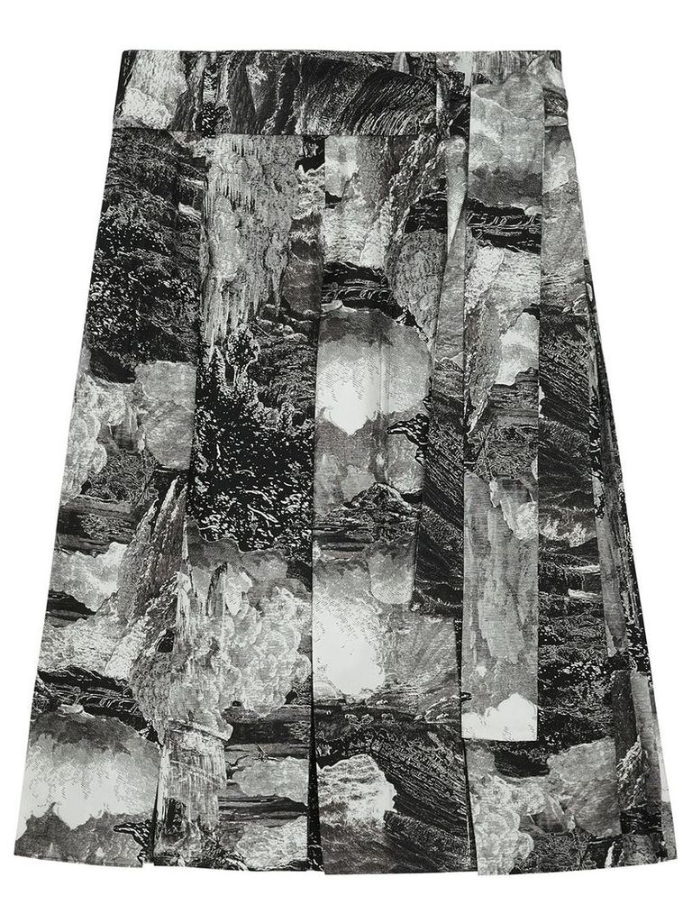Burberry Dreamscape Print Pleated Silk Tie-waist Skirt - Black