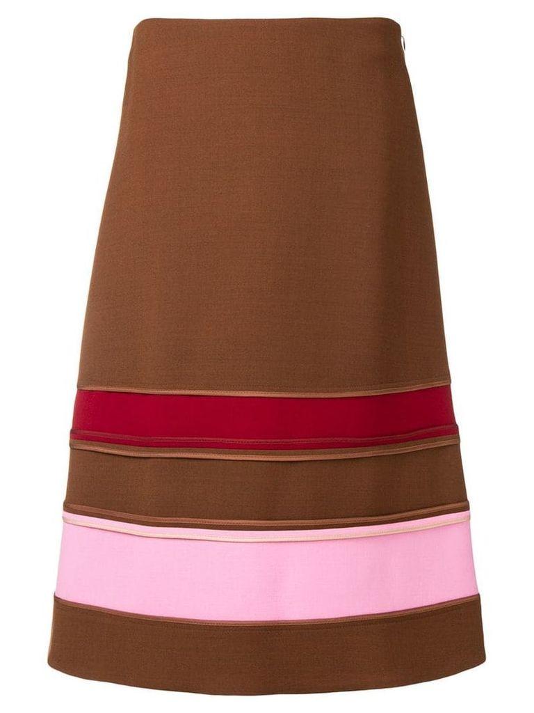 Marni striped A-line skirt - Brown