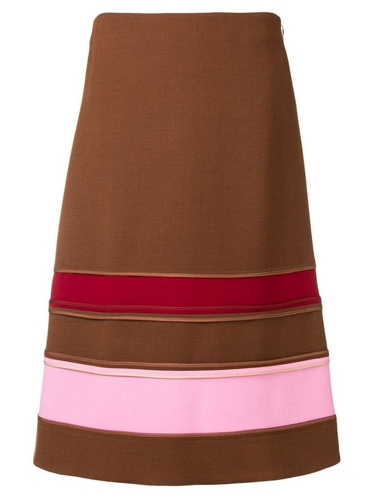Marni striped A-line skirt - Brown