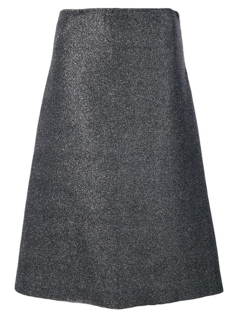 Cédric Charlier glitter canvas asymmetric skirt - Metallic