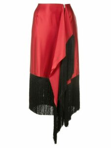 Marques'Almeida draped fringed skirt - Red