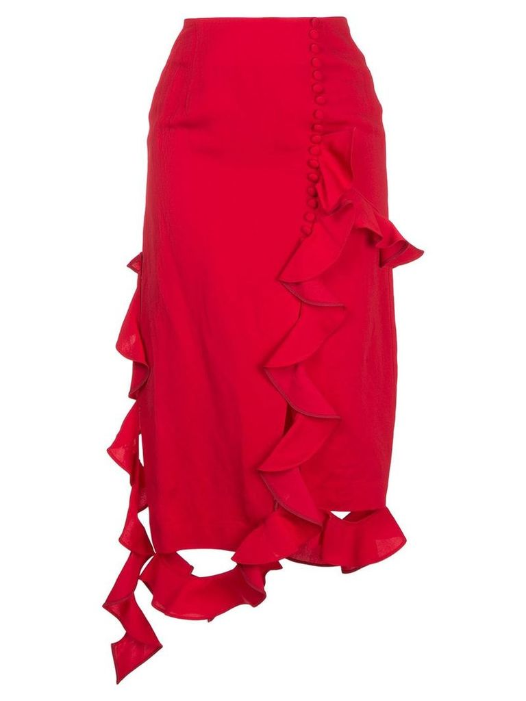 Irene asymmetric frill skirt - Red