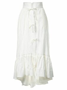 Irene asymmetric midi skirt - White