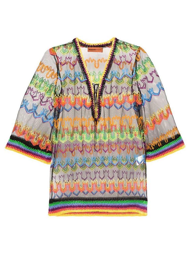 Missoni Mare embroidered crochet mini kaftan - Black