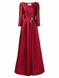 Alberta Ferretti V-neck brooch gown - Red