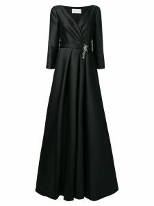 Alberta Ferretti V-neck brooch gown - Black