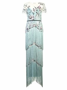 Marchesa Notte fitted long dress - Blue