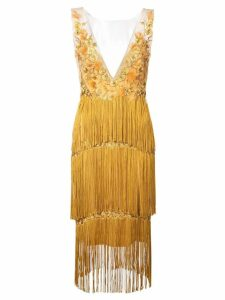 Marchesa Notte floral embroidery fringed dress - Yellow