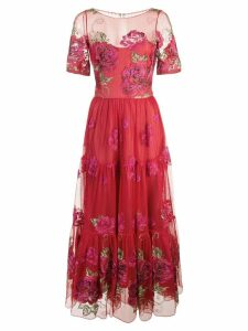 Marchesa Notte embroidered A-line dress