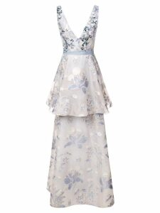 Marchesa Notte sleeveless floral dress - Blue