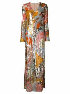 Emilio Pucci Sequin Embroidered Long Dress - Orange