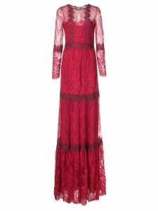 Marchesa Notte lace flared dress