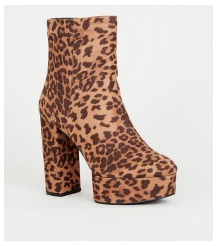 Brown Leopard Print Platform Heeled Ankle Boots New Look