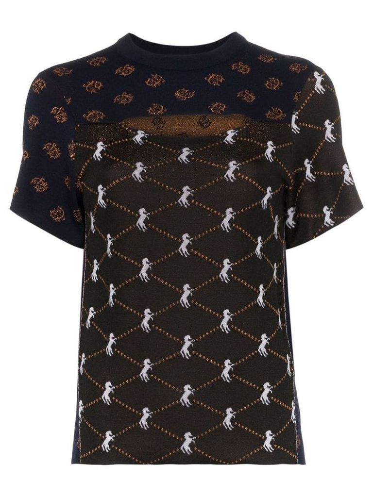 Chloé cutout front jacquard horse print knitted top - Blue