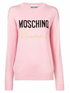 Moschino logo knitted sweatshirt - Pink