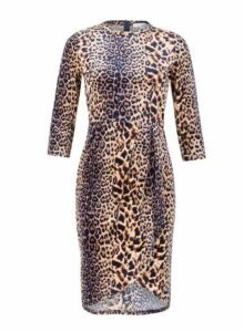 Womens *Blue Vanilla Brown Wrap Hem Pleated Dress- Brown, Brown