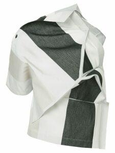 132 5. Issey Miyake panelled asymmetric top - White