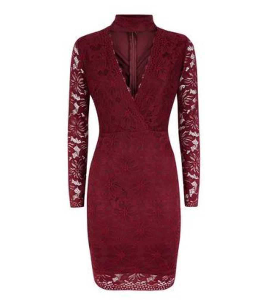 AX Paris Burgundy Lace Choker Neck Dress New Look