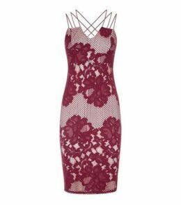 AX Paris Red Lace Fishnet Strappy Midi Dress New Look