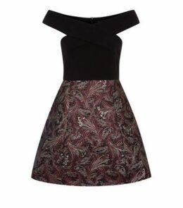AX Paris Black Metallic Jacquard Skirt Dress New Look