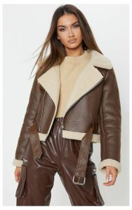 Brown Contrast Faux Fur Cropped Aviator, Brown