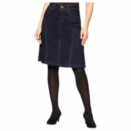 Krisp  Contrast Stitch A-Line Plus Denim Skirt [Navy ]  women's Skirt in Blue