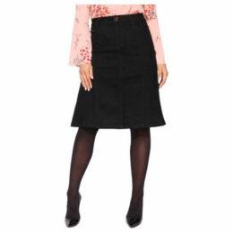 Krisp  Gem Pockets A-Line Plus Denim Skirt [Black]  women's Skirt in Black