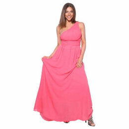 Krisp  One Shoulder Maxi Prom Dress [Coral ]  women's Long Dress in Pink